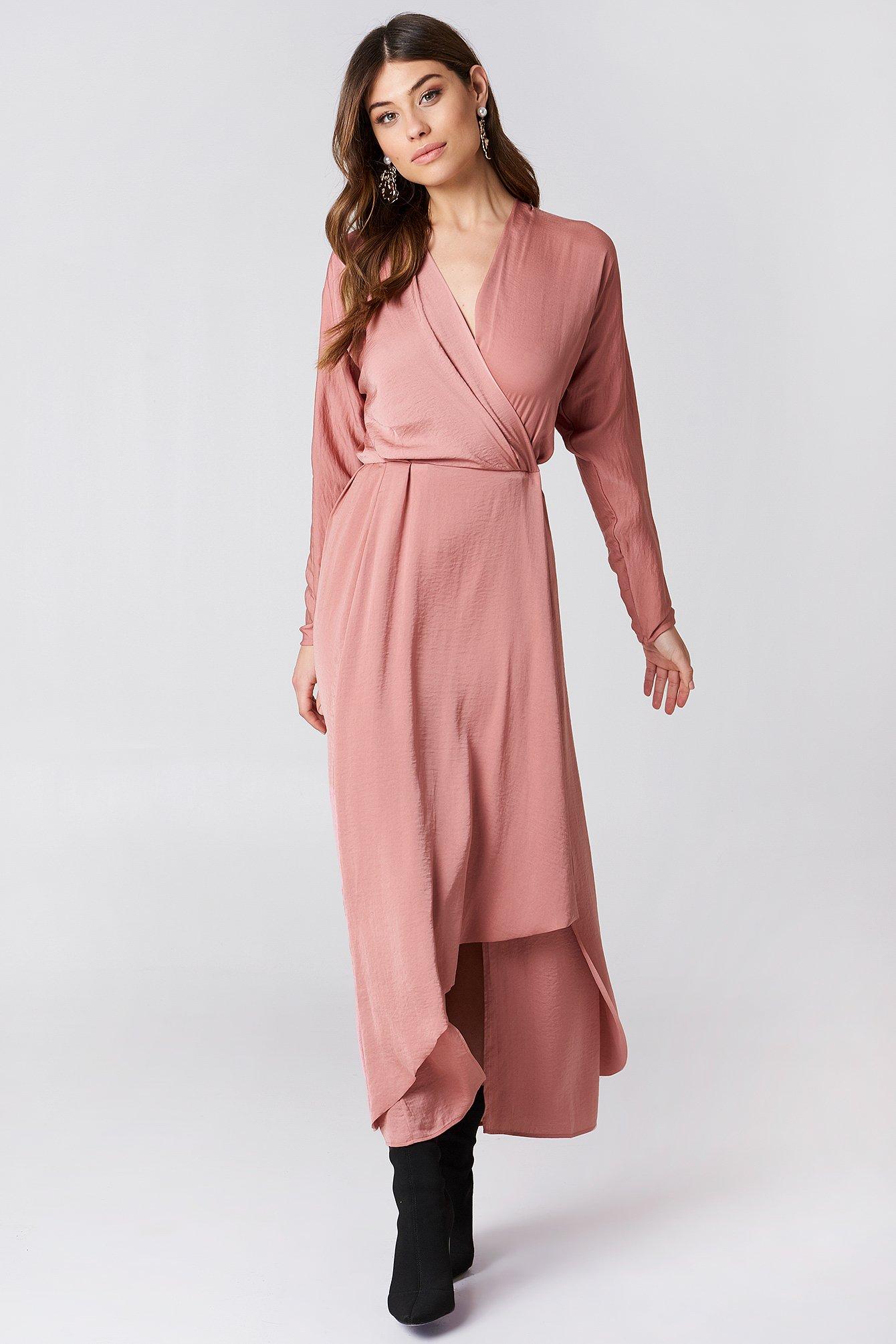 Drapey Wrap Dress Salmon  8fa10929a3ec