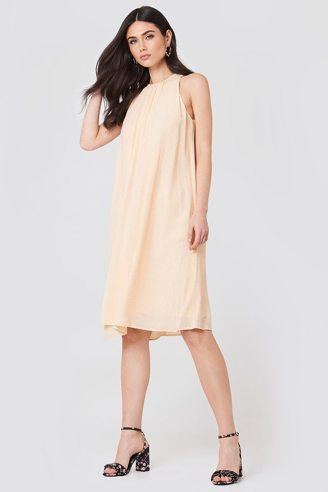 Flowy Crinkle Dress Champagne