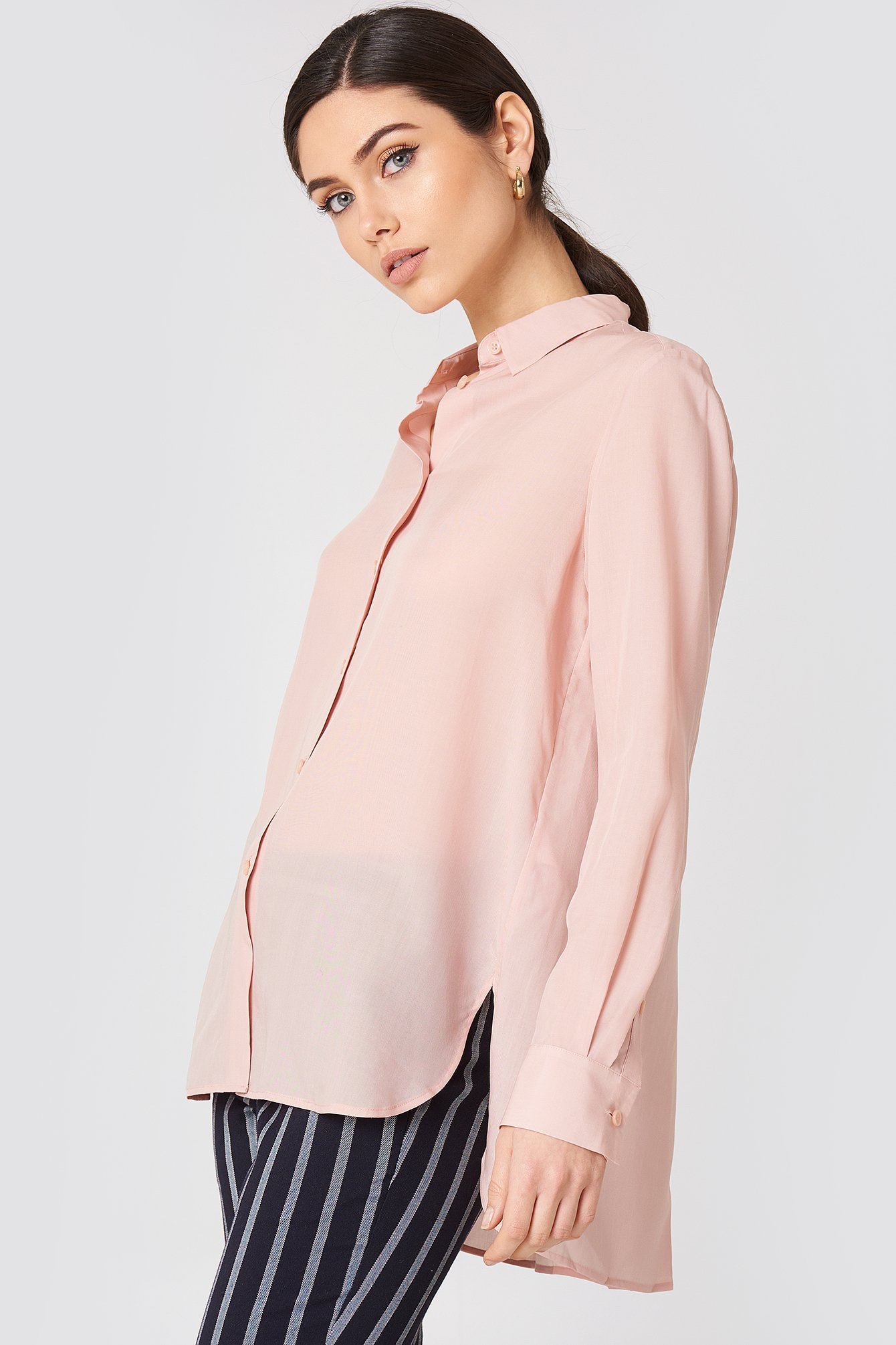 High-low Tencel Shirt NA-KD.COM