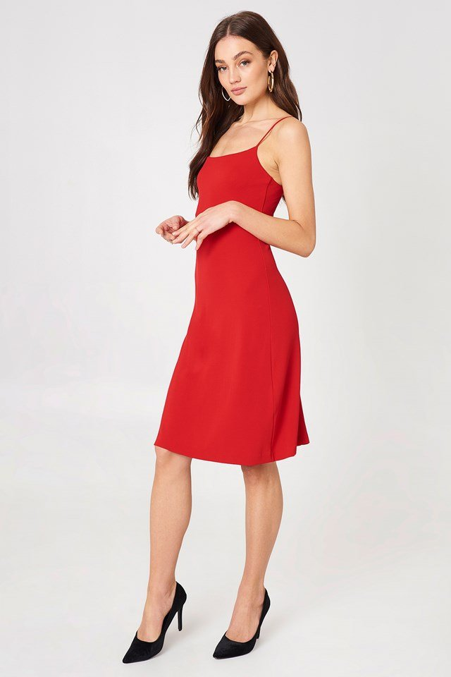 Jersey Crepe Strap Dress Rouge
