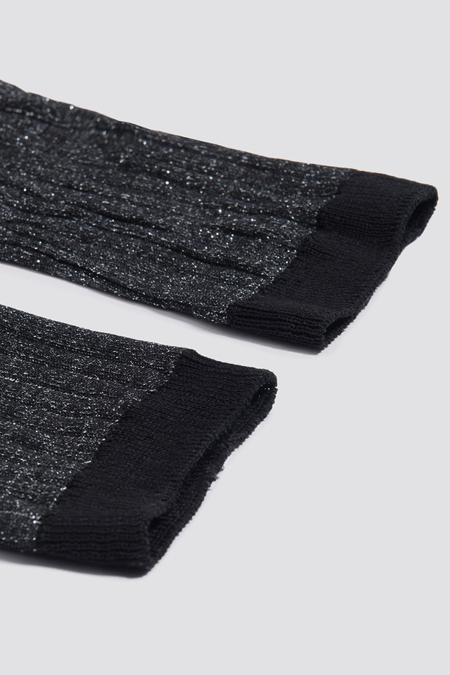 Lurex Rib Sock Black