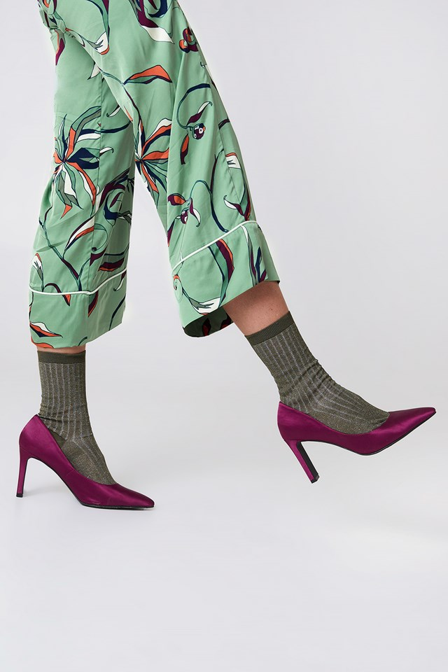 Lurex Rib Sock Khaki Green
