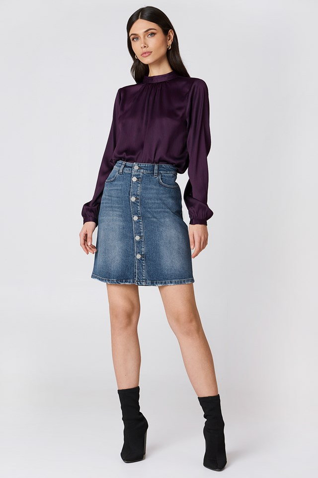 Mid Blue Denim Skirt Vintage Summer Denim