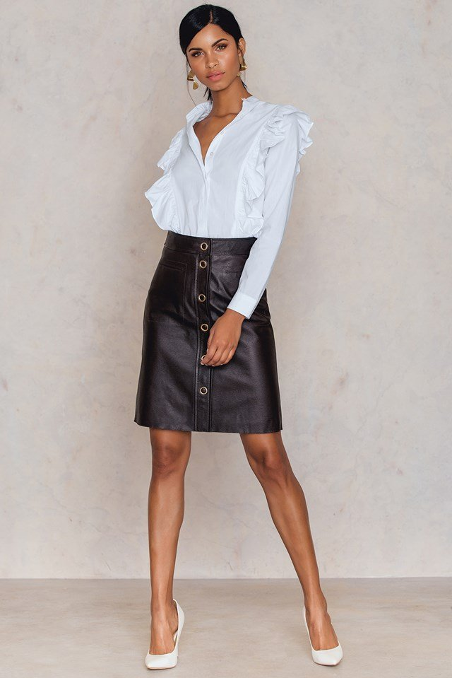 Panel Button Leather Skirt Dk.Chocol