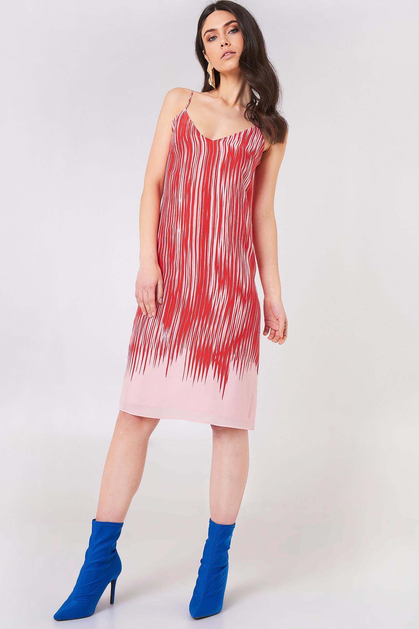 FILIPPA K STRAPPY PRINT DRESS - RED, MULTICOLOR