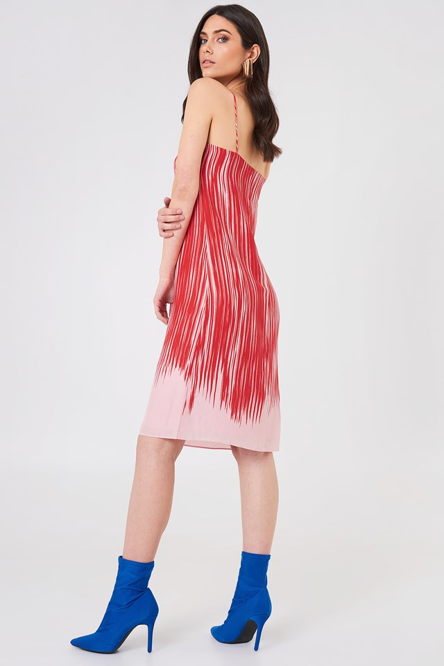 Strappy Print Dress Red Abstract