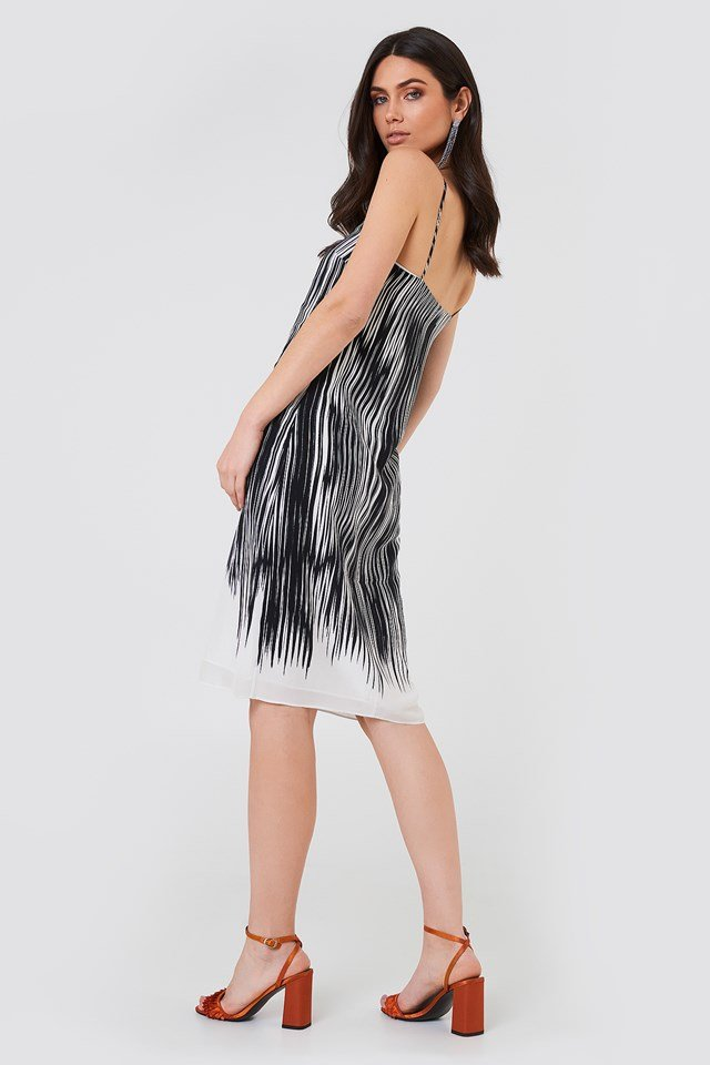 Strappy Print Dress Black Abstract