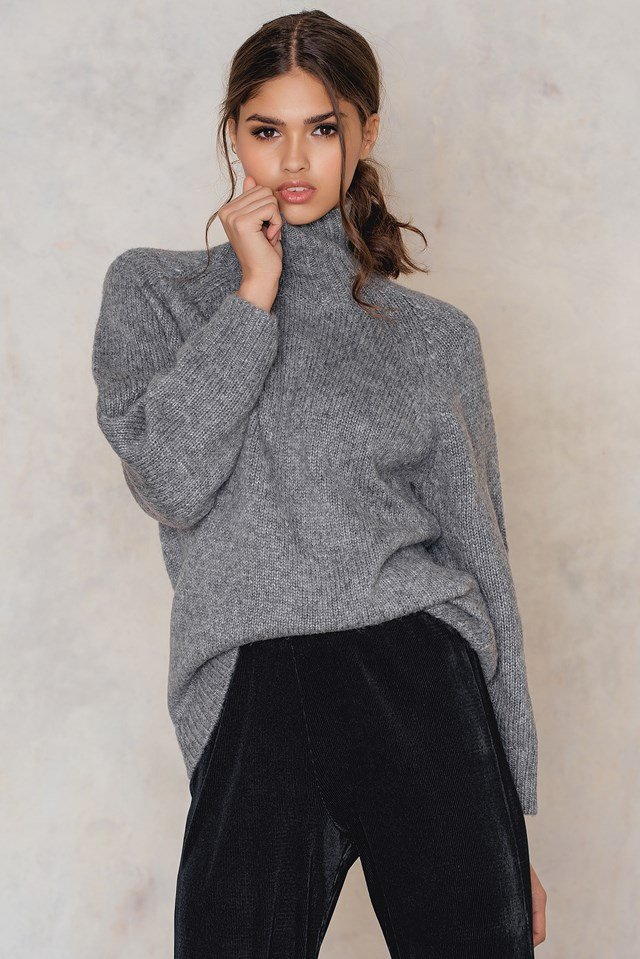 Turtle Neck Sweater Grey Melange