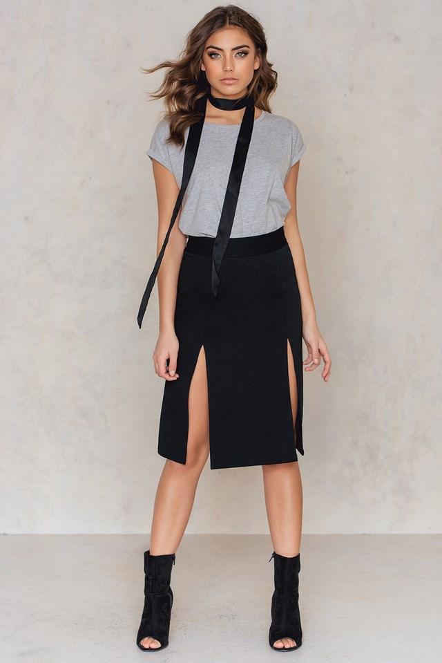 Double Split Skirt Black