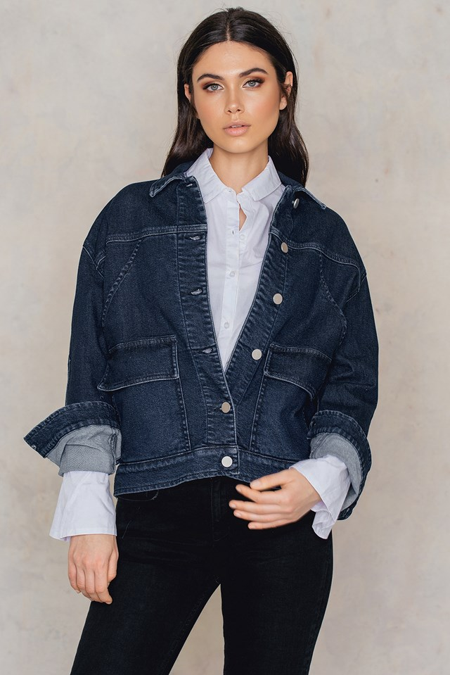 Oversized Denim Jacket Dark Blue