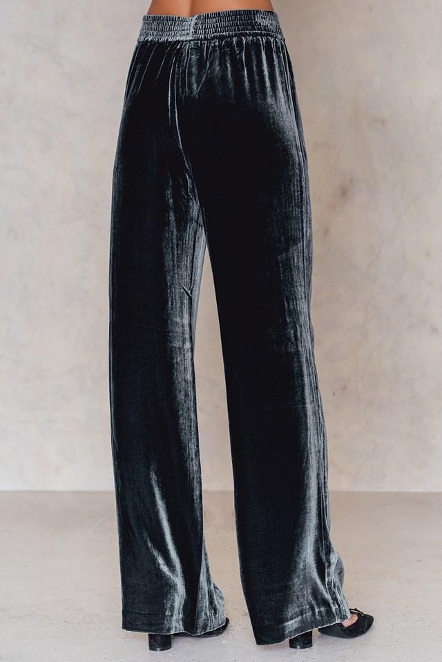 Sporty Velvet Pants Blue Graphite