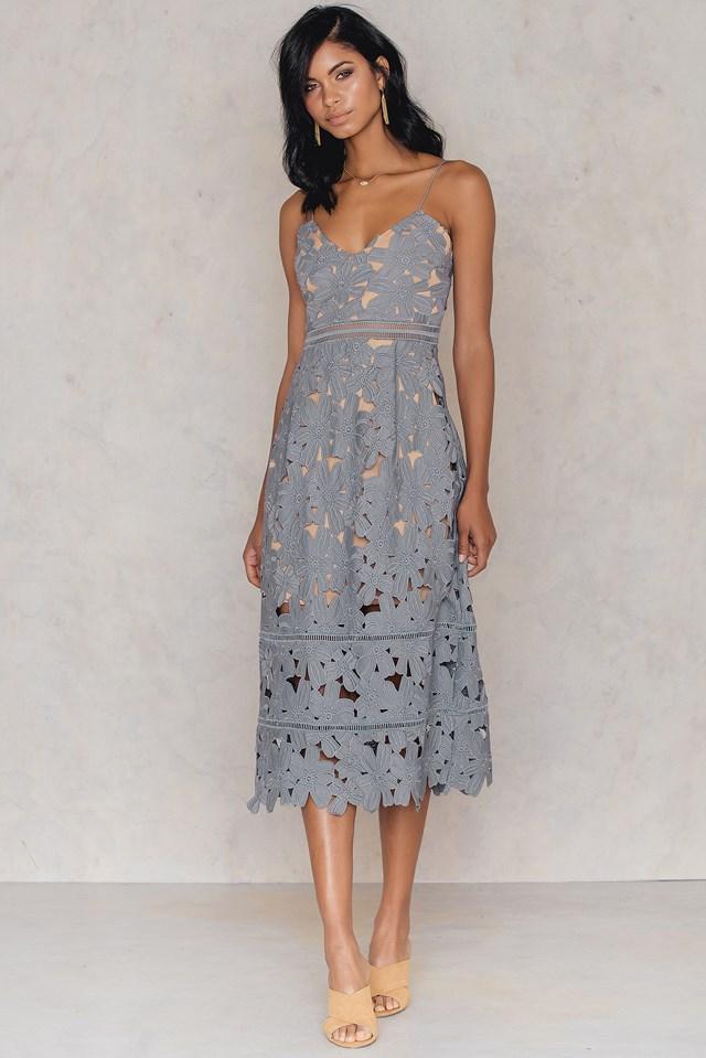 Floral Crochet Midi Dress Dusty Blue