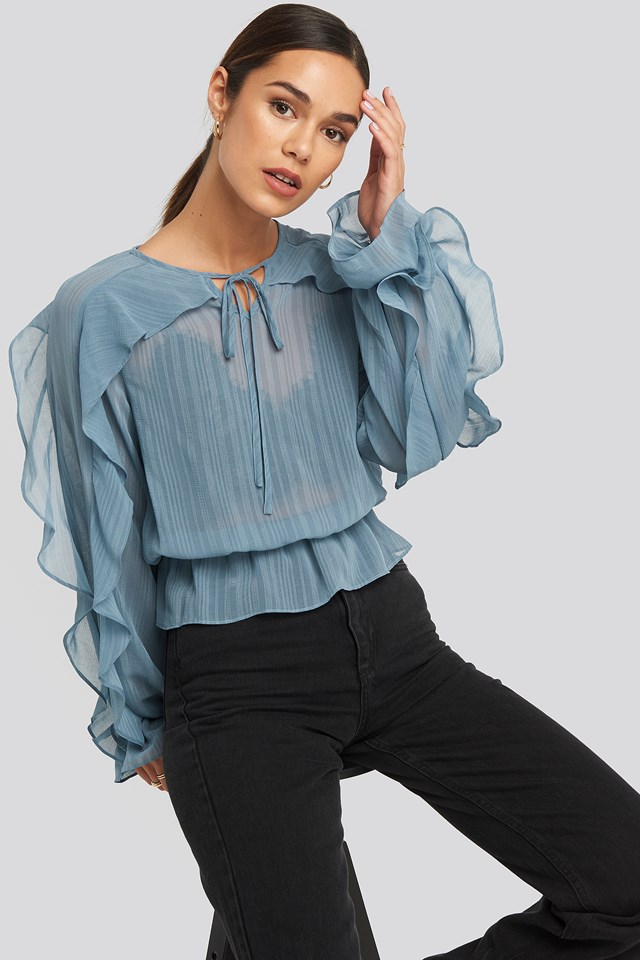 Flounce Sleeve Shirred Blouse Dark Dusty Blue