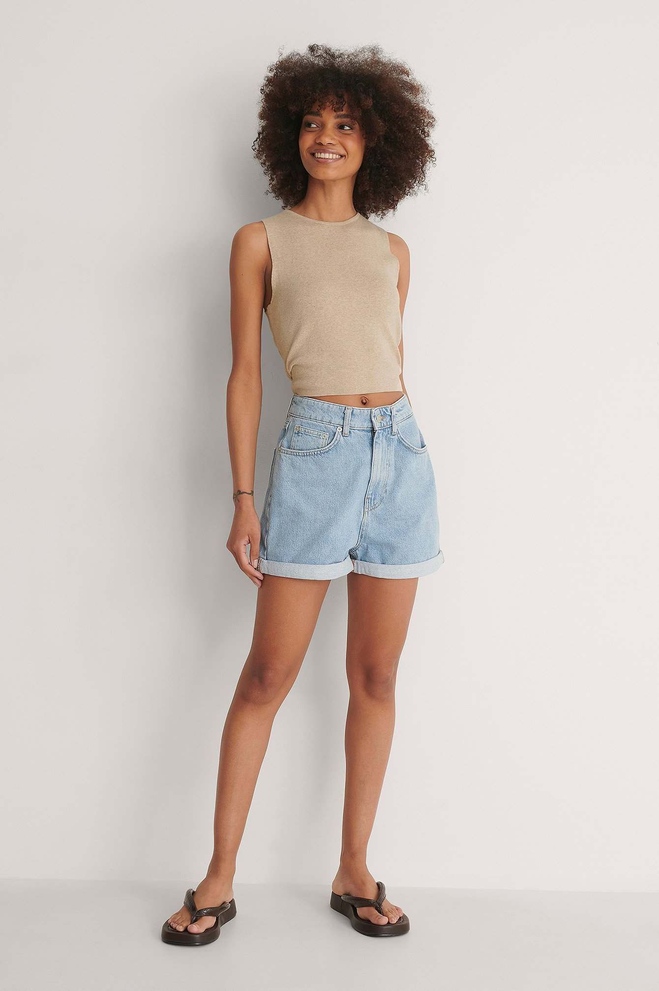 Light Blue Fold Up Mom Shorts