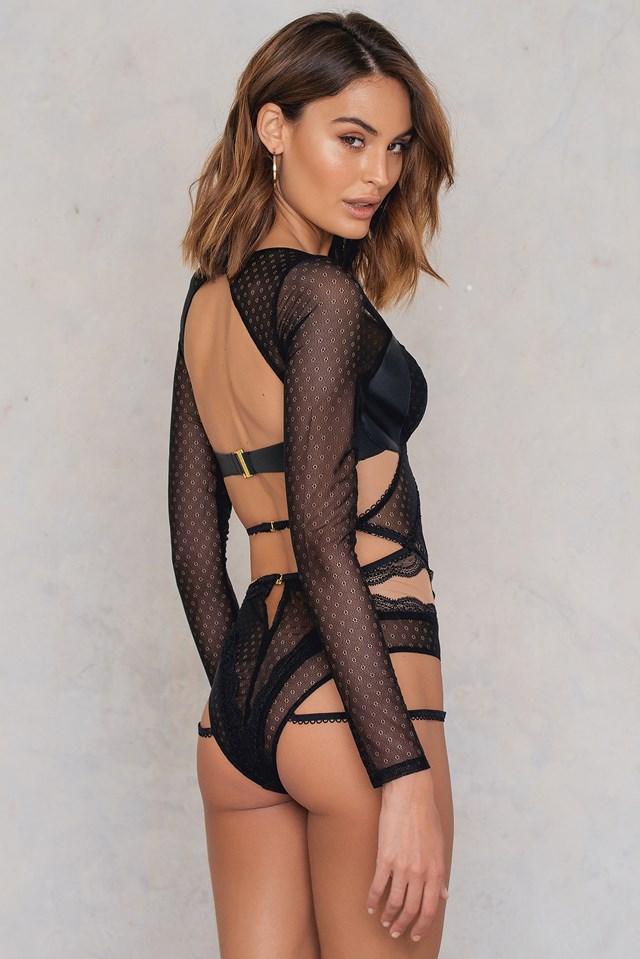 Esme Long Sleeve Bodysuit Black