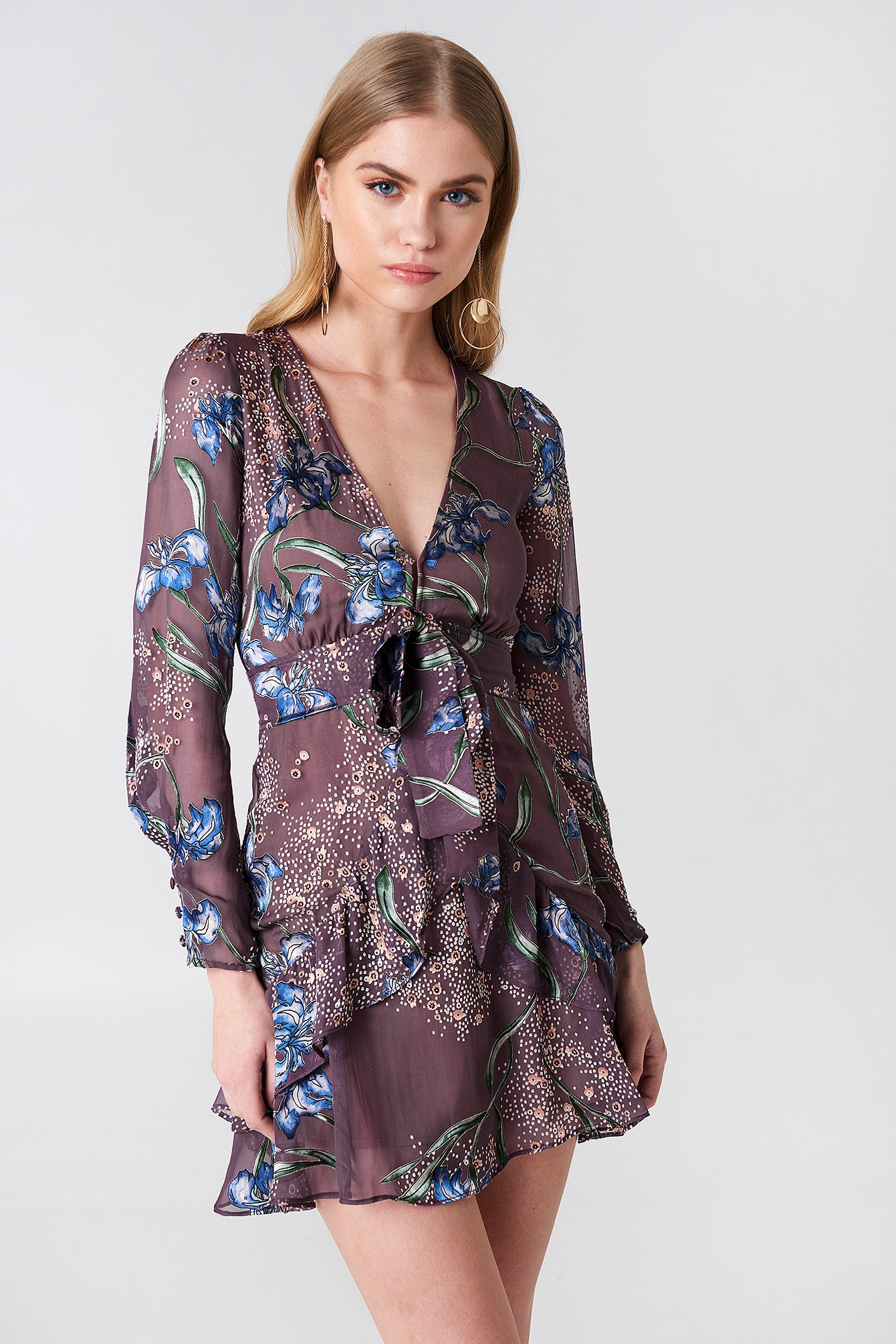 Cleo Floral Party Dress NA-KD.COM