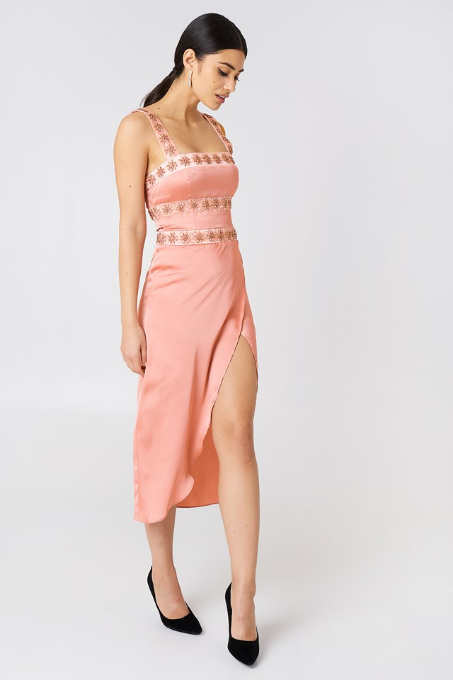 Opal Beaded Midi Dress Blush Diamond