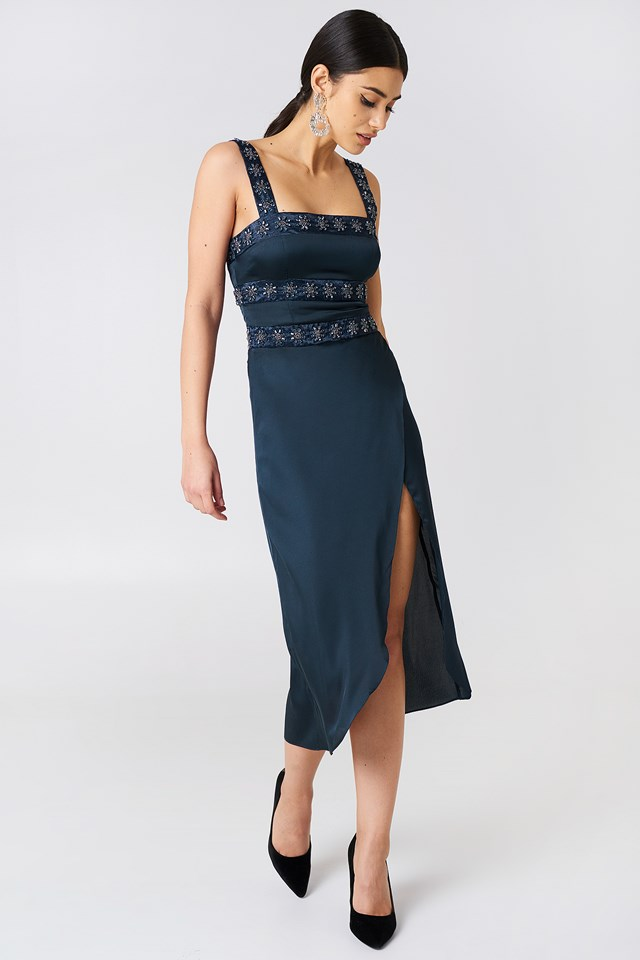 Opal Beaded Midi Dress Navy Diamond