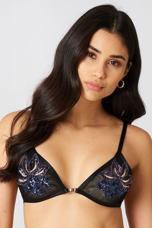 Emma Sequin Triangle Bra Midnight