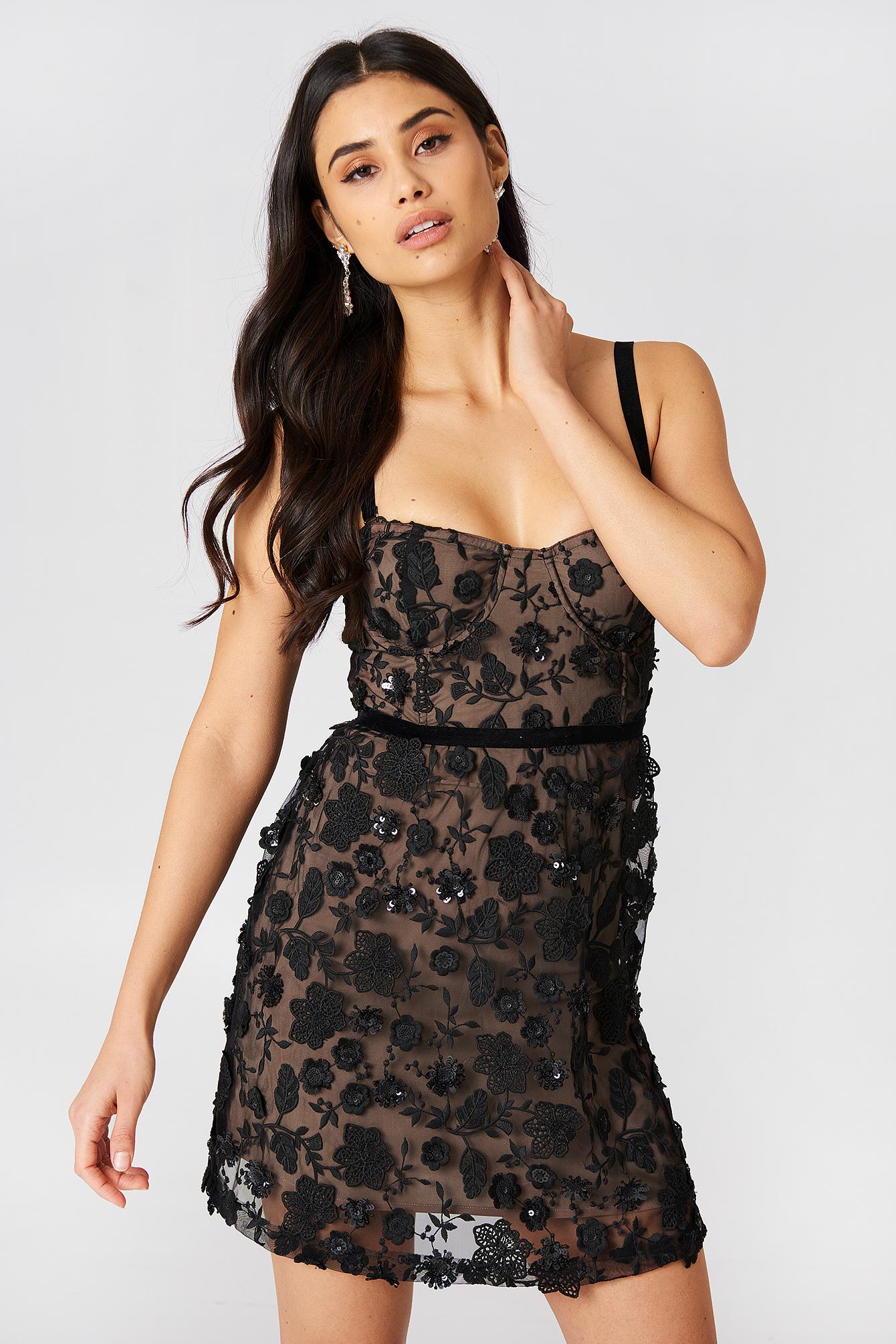for love & lemons -  Beatrice Strappy Mini Dress - Black