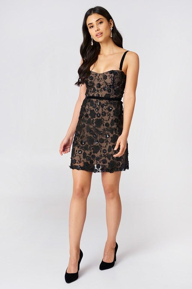 Beatrice Strappy Mini Dress Black
