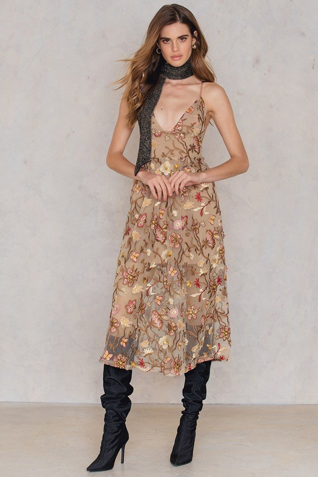 Botanic Midi Dress Nude Floral