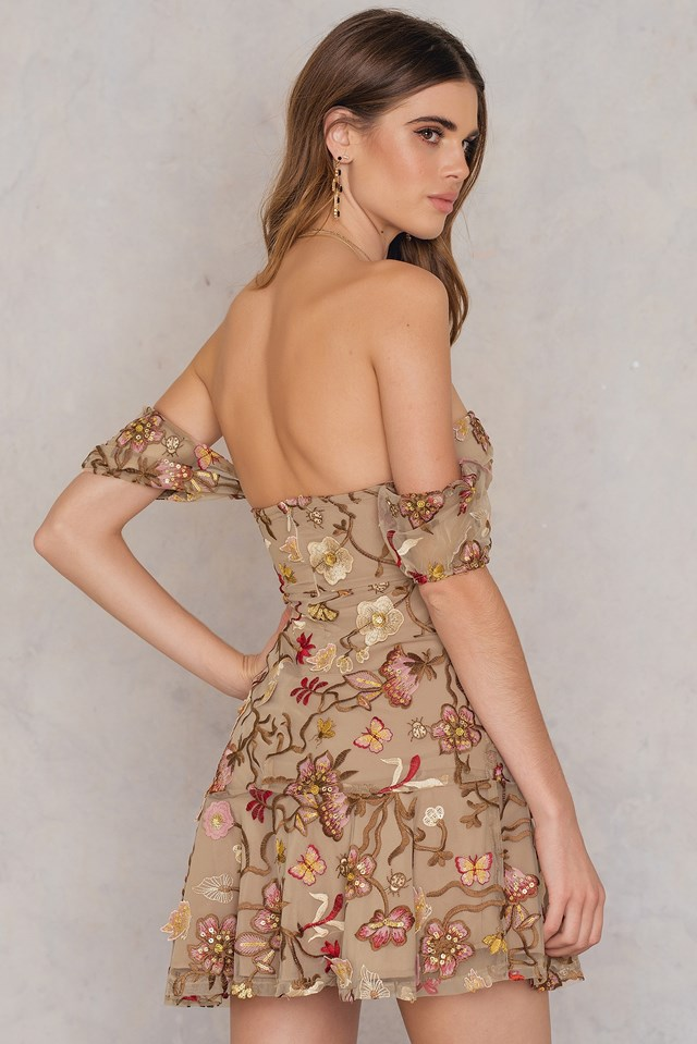 Botanic Strapless Dress Nude Floral