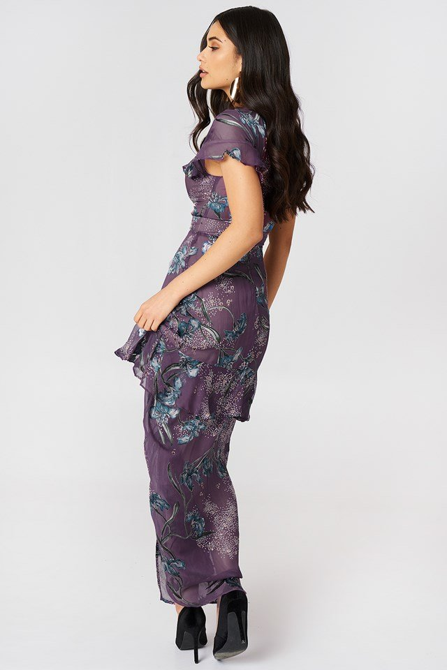 Cleo Floral Maxi Dress Violet Orchid
