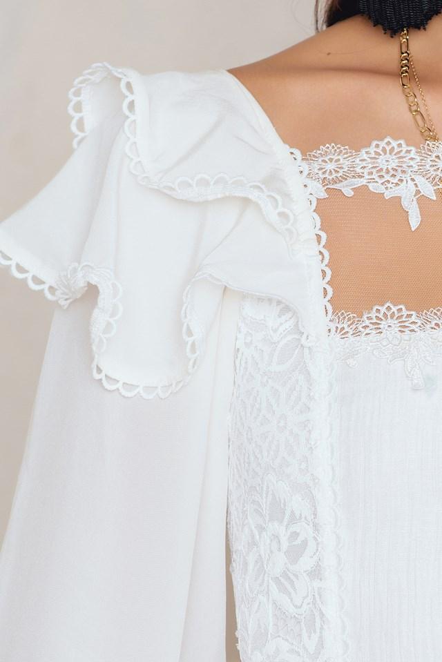 Crema Silk Linen Dress White