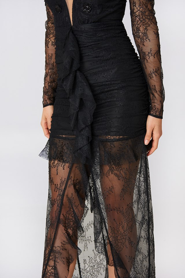 Daisy Lace Midi Dress Black