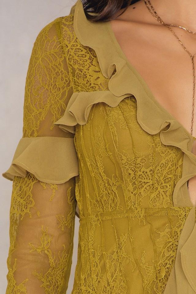 Daphne Lace Mini Dress Chartreuse