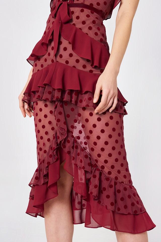Dotty Midi Dress Berry Dot