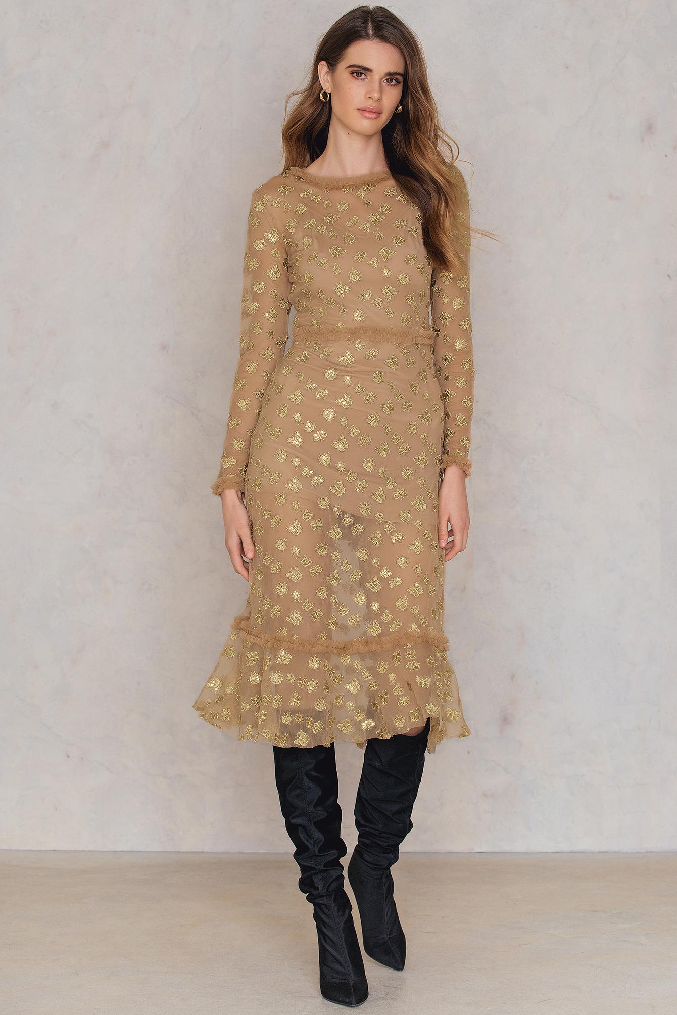 1dc95a0c09 Golden Garden Tulle Midi Dress Gold | na-kd.com