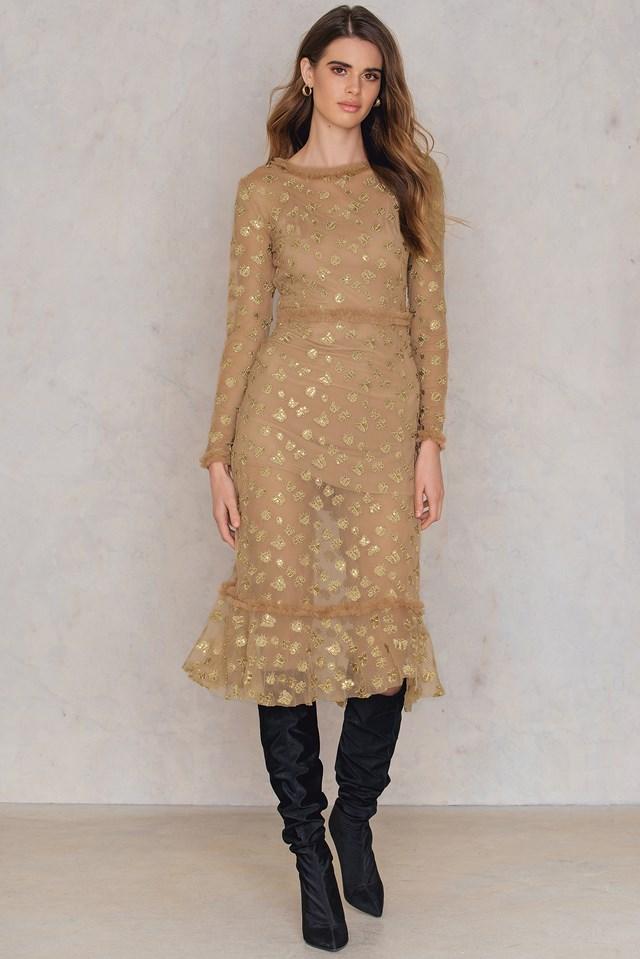 Golden Garden Tulle Midi Dress Gold
