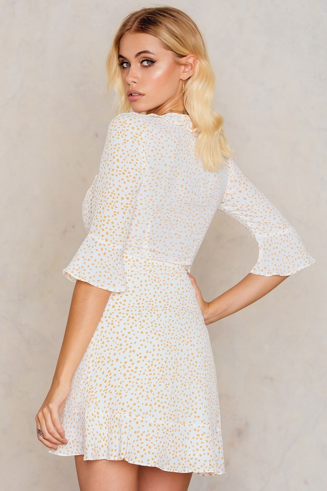 Nostalgic Tie Front Dress White Star