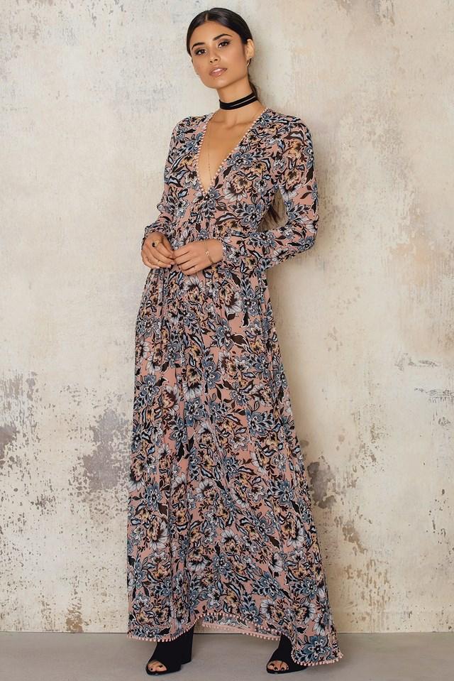 Gracie Maxi Dress Nude Floral