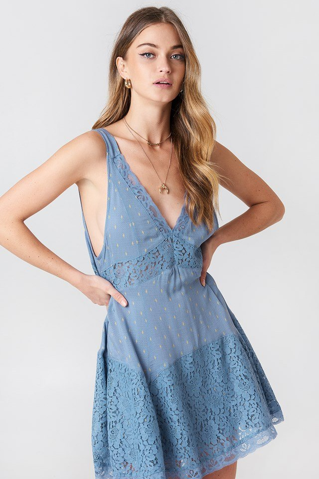 Any Party Slip Dress Blue