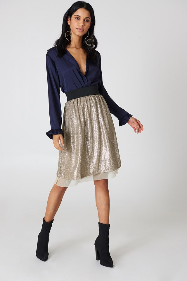 Flashing Light Midi Skirt Taupe