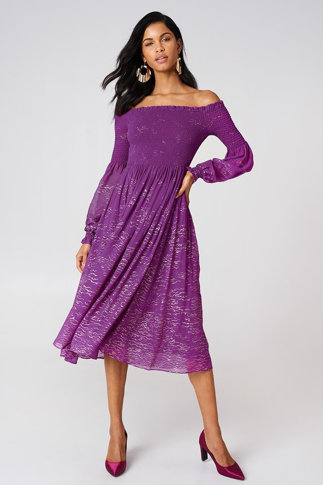 Foiled Smock Midi Dress Purple Combo