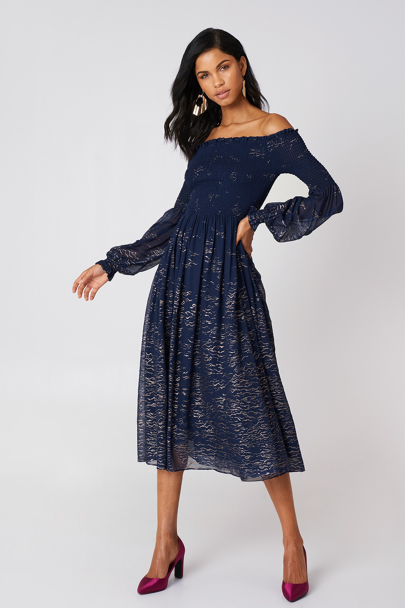 Foiled Smock Midi Dress NA-KD.COM