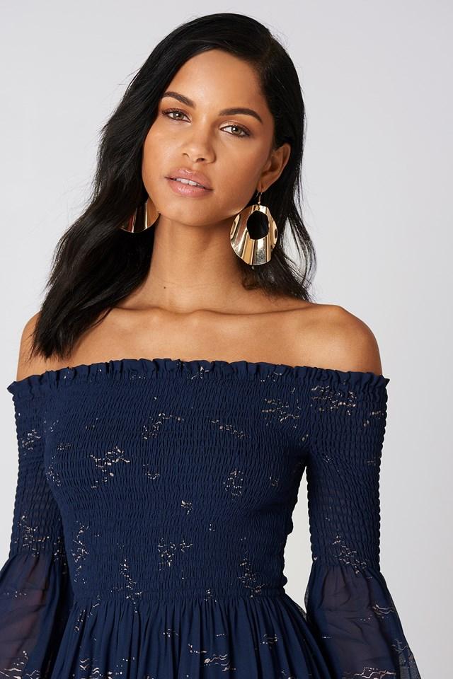 Foiled Smock Midi Dress Blue Combo