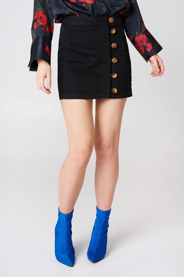 Little Daisies Mini Skirt Black