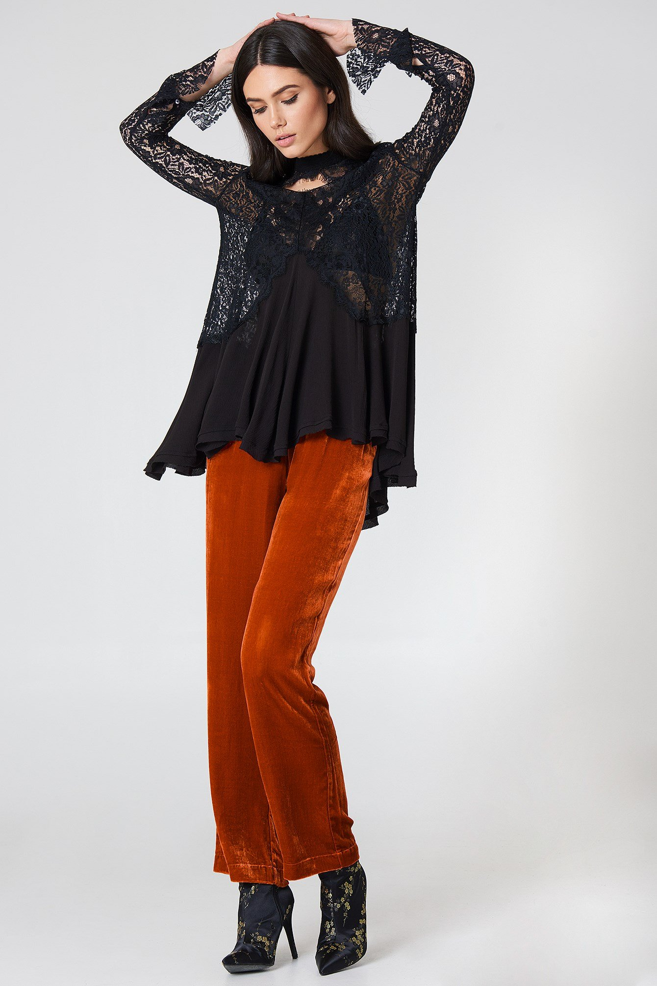 New Tell Tale Lace Long Sleeve Tunic NA-KD.COM