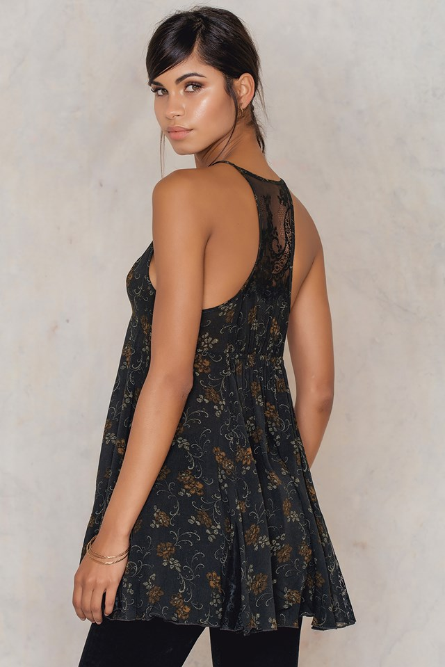 Printed French Girls Slip Dress Black Combo