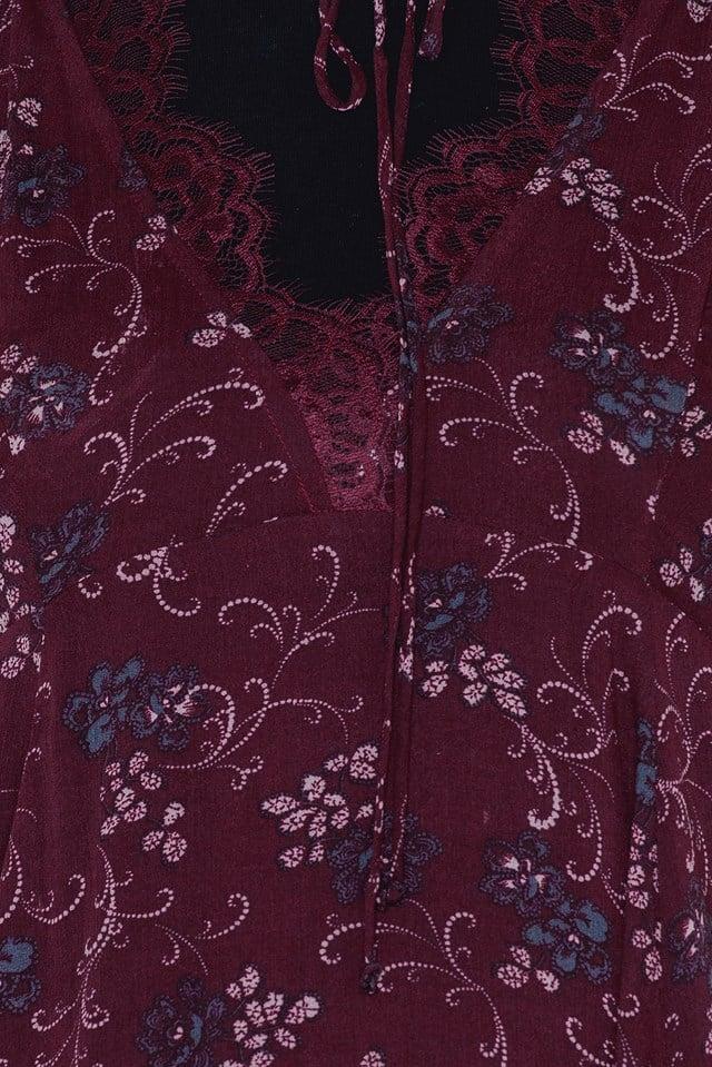 Printed French Girls Slip Dress Purple Combo
