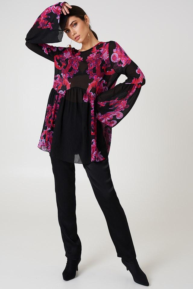 Printed Symphony Slip Dress Black