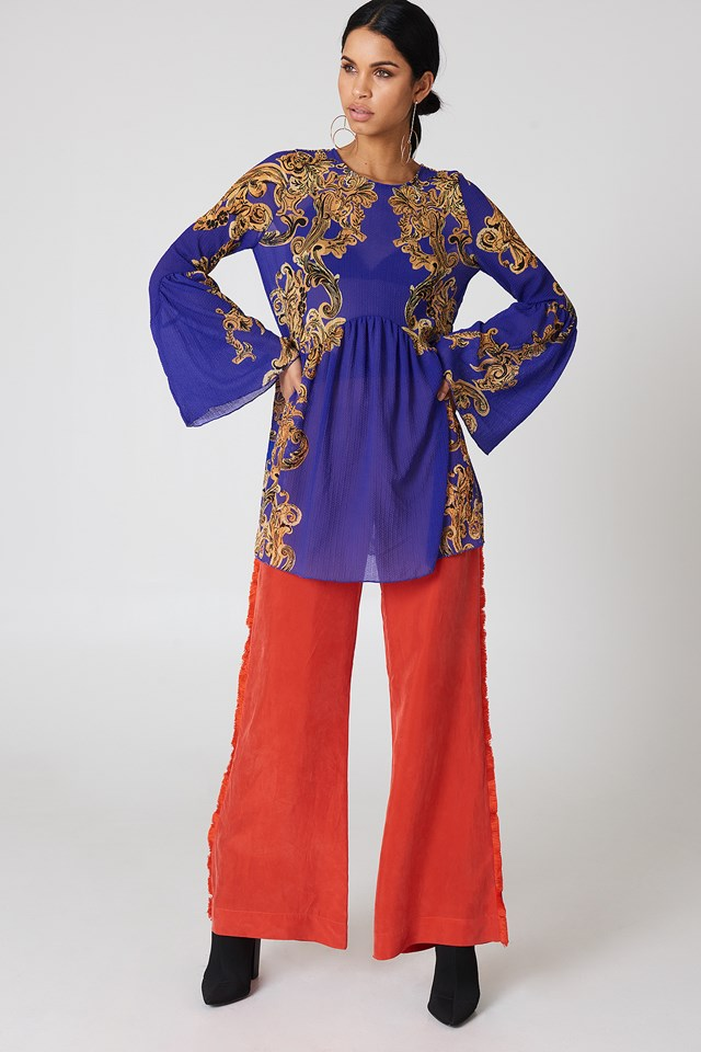 Printed Symphony Slip Dress Blue
