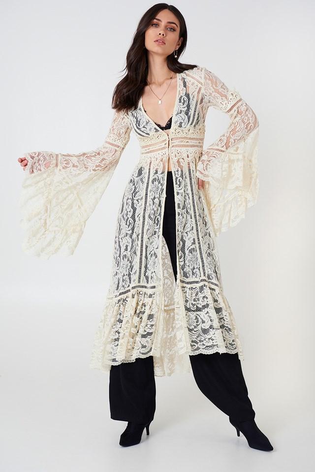 Rhiannon Lace Kimono Ivory