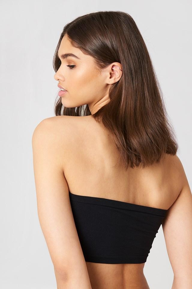 Seamless And Lace Bra Black