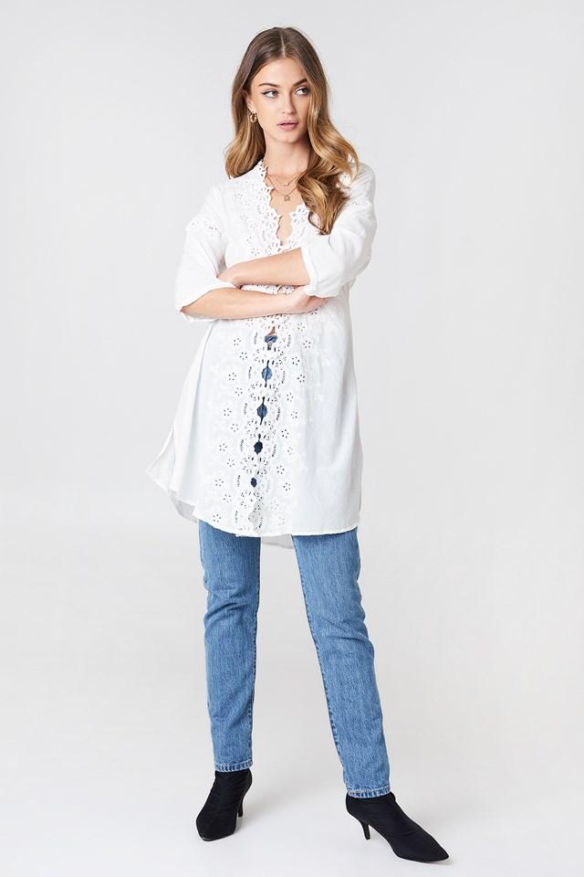 To The Moon Buttondown Shirt White